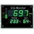 Medidores para humedad de aire PCE-AC2000 para el montaje en la pared en esculas u oficinas, advierten de una concentración alta de CO2