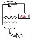 Dibujo de una medición realizada con los transductores de distancia.