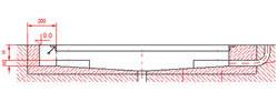 Dibujo técnico del hueco para insertar la balanza empotrada de acero inoxidable