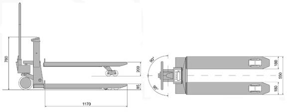 Esbozo de la transpaleta pesadora verificada PCE-TPWLM.
