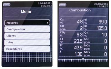 Pantalla LCD del analizador de combustion
