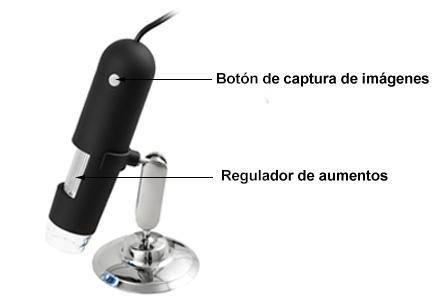 Botones del microscopio USB PCE-MM 400