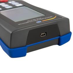 Interfaz mini USB para transferir los datos del calibrador universal
