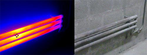 Imagen térmica de la cámara infrarroja