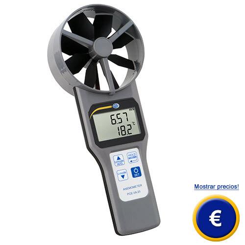 Caudalímetro de aire digital de rueda alada PCE-VA 20