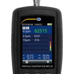 Pantalla del contador de partículas PCE-MPC 20