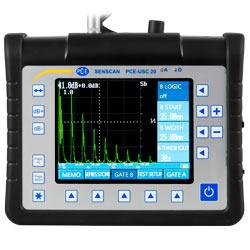 Aquí ve la pantalla del detector de fallas por ultrasonido PCE-USC 20.