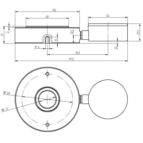 Dimensiones del dinamómetro hidráulico serie PCE-HFG