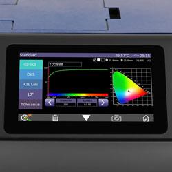 El analizador LAN con función multímetro en un panel de parcheo