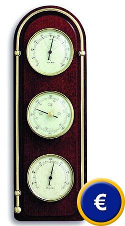 4588bcfbf Estación Meteorológica Domatic Caoba con marco de latón / diseño moderno /  indicaciones redondeadas. - interior (barómetro, termómetro ...