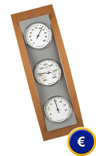 2673445b7 Estación Meteorológica Domatic Haya - Aluminio para uso en interiores ( barómetro, termómetro, higrómetro