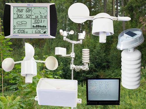Estación meteorológica PCE-FWS20 con el software y todos los sensores