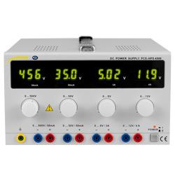 Vista frontal de la fuente de alimentación de laboratorio PCE-HPS 4500