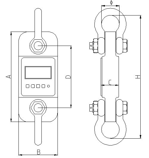 Desenho técnico da balança para medições de tração de PCE-DDM