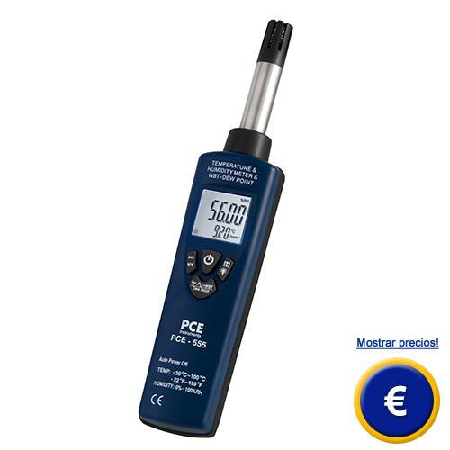 Higrómetro PCE-555 en formato de bolsillo para mediciones in situ.