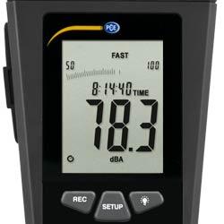 Pantalla LCD del sonometro PCE-322A