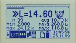 Pantalla a la hora de medir la densidad luminosa, incluido la indicación de estadística