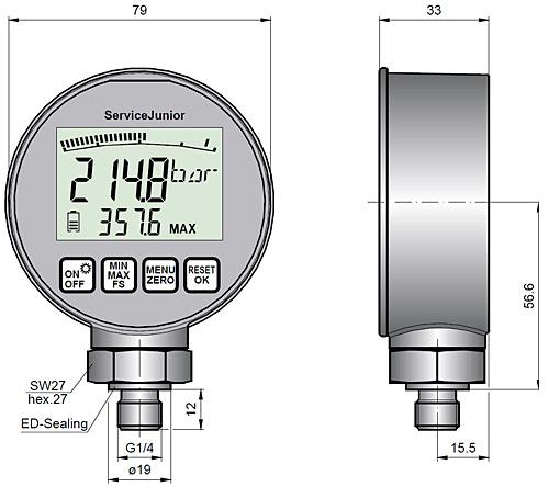 Man metro de presi n serie scjn for Manometro para medir presion de agua