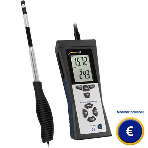 Medidor de aire térmico digital para los profesionales de ventilación.