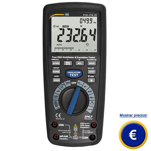 Medidor de aislamiento y multímetro PCE-ITM 20