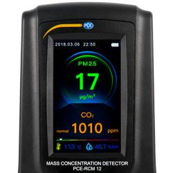 La pantalla del medidor de calidad de aire dispone de una barra de valoración a color.