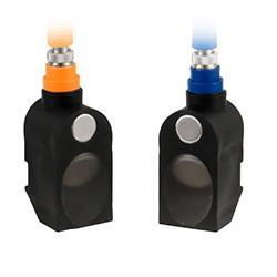 Aquí se observa ambos transductores electroacústicos del medidor de caudal para líquidos por ultrasonido