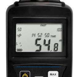 Pantalla del medidor de decibelios LEQ PCE-353N.