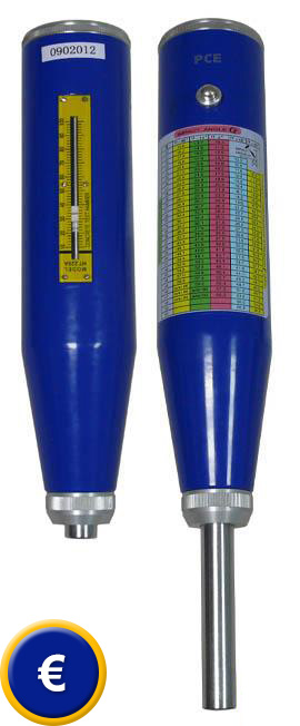 Vista anterior y posterior del medidor de dureza para hormigón.
