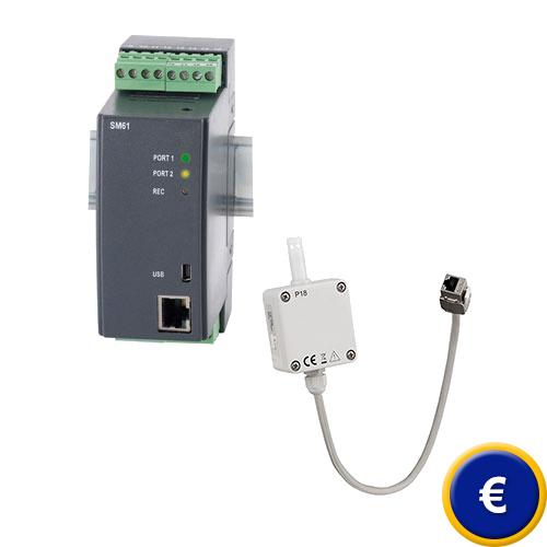 Sistema de medición de temperatura y humedad PCE-WMS 1 para almacenes.