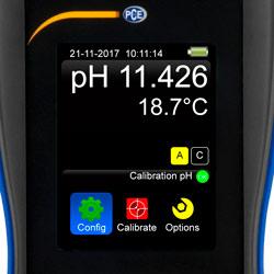 """Pantalla LCD a color de 3,2"""" del medidor de pH serie PCE-ISFET"""