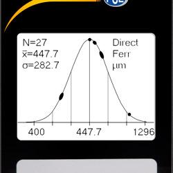 Pantalla del medidor de revestimiento PCE-CT 100 mostrando las funciones estadísticas