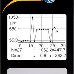 Aquí se aprecia un gráfico con el proceso de medición que incluye las funciones estadísticas del medidor de revestimiento PCE-CT 100