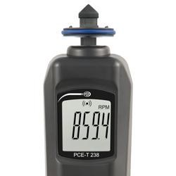 La pantalla clara del medidor de revoluciones le proporciona información sobre los valores de medición.