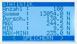 El medidor de torque serie PCE-FB TW dispone de la función de análisis estadístico