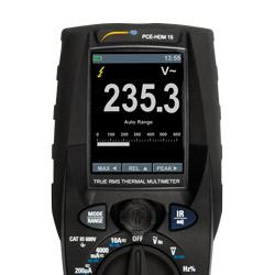 Vista de la pantalla del multímetro digital PCE-HDM 15