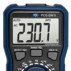 Pantalla del multímetro PCE-DM 5