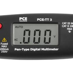La pantalla del multímetro tipo lápiz PCE-TT 3