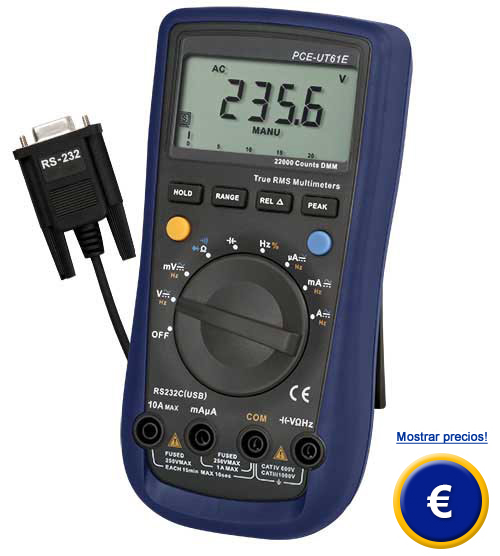 Mult�metro TRMS PCE-UT 61E (CAT IV / 600 V)