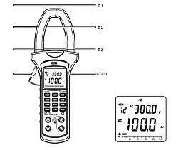 Medición sencilla de corriente con la pinza medidora del analizador de potencia y de energia PCE-UT232.