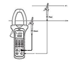 Medición de potencia con la pinza medidora del analizador de potencia y de energia PCE-UT232 de 1 fase y 2 conductores.