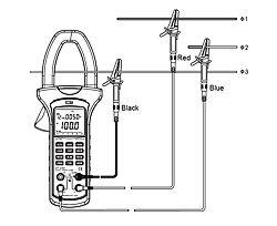 Medición de potencia con la pinza medidora del analizador de potencia y de energía PCE-UT232 de 3 fases y 3 conductores.