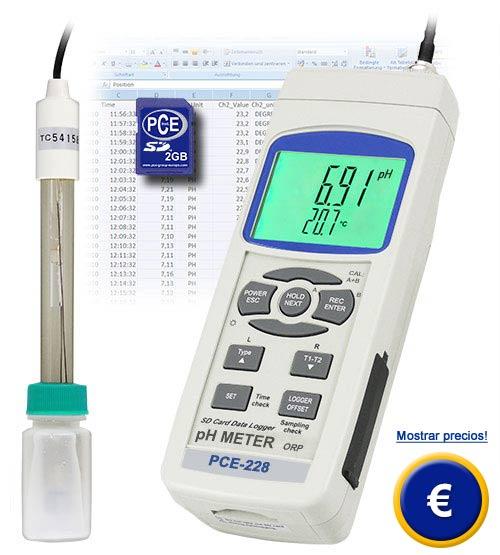 El ph metro PCE-228 es de fácil manejo y tiene una buena relación calidad / precio, con tarjeta de memoria SD