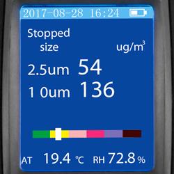 La pantalla del medidor de partículas ofrece información amplia sobre la calidad del aire.