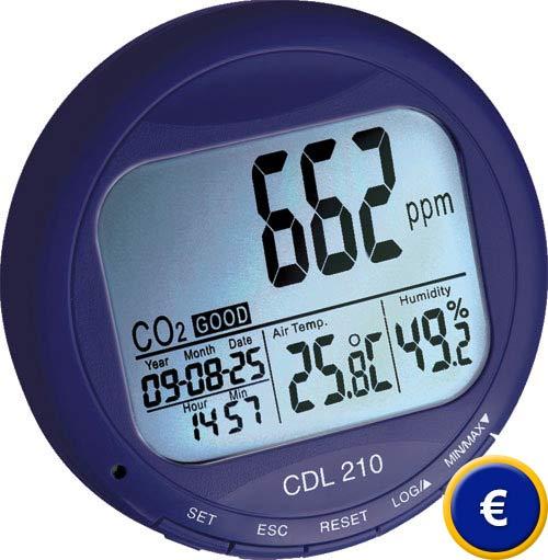 Registrador de CO2 con indicación de temperatura y humedad