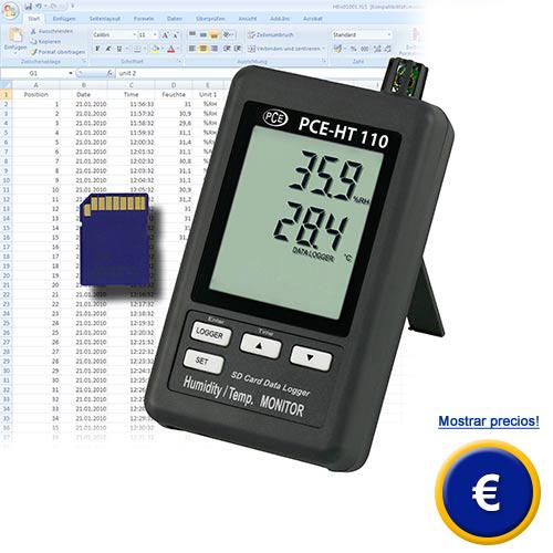 Registrador de datos para temperatura y humedad (con gran memoria y pantalla)