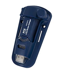 Aquí ve el registrador de vibración PCE-VD 3 con el soporte para pared robusto, sencillo y magnético