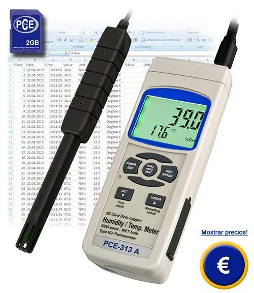 Termohigrometro PCE-313A con tarjeta de memoria SD