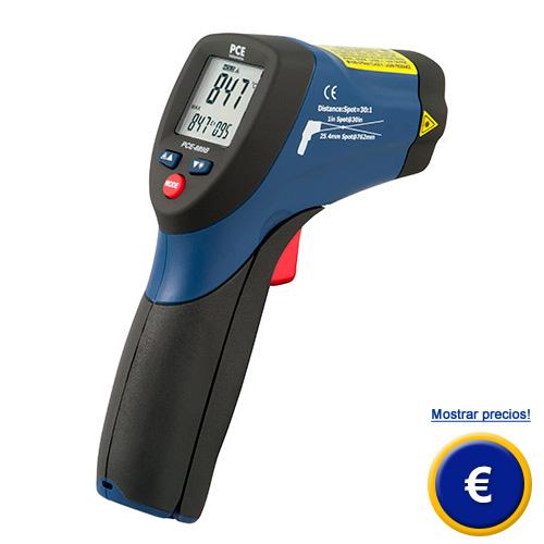 Más información acerca del termómetro infrarrojo PCE-889A con un alto rango de medición hasta +1050 ºC.