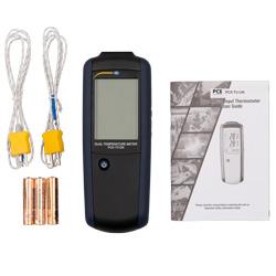 Imagen del contenido del envío del termómetro de contacto digital