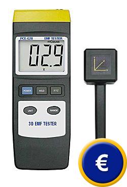 Teslametro PCE-G28 con sonda triaxial para campos magnéticos.